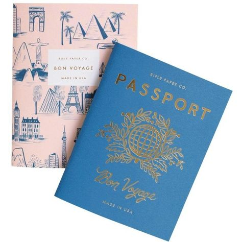 Rifle Paper Co. Passport Pocket Notebooks (£7.97) ❤ liked on Polyvore featuring home, home decor, stationery, fillers, books, stuff, school, accessories, embellishment and detail