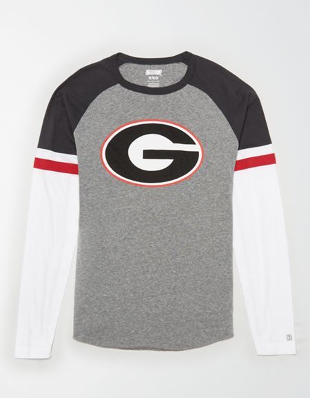 Tailgate Men S Georgia Bulldogs Baseball Shirt Ncaa Apparel Mens Outfitters How To Roll Sleeves