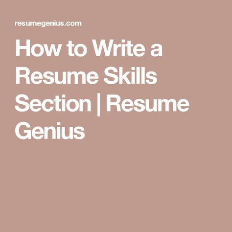 How to Write a Resume Skills Section Resume Genius Libros - skills section on resume