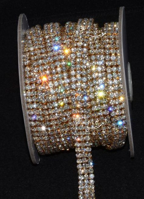 Jerler 1 Yard 3 Rows Rhinestone Trim Close Chain for Crafts Wedding and Clothes Christmas Decorations Gold