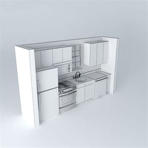 Small One Wall Kitchen Free 3d Model Max Obj 3ds Fbx Stl One Wall Kitchen Kitchen Remodel Small Kitchen Remodel Layout
