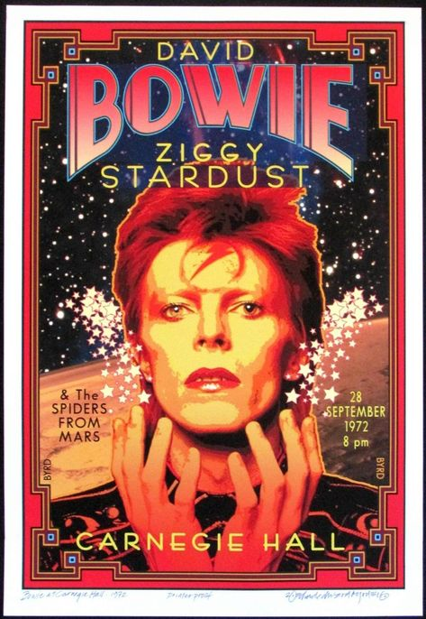 Honoring David Bowie at Carnegie Hall 1972 New Poster S/N to 100 by David Byrd   eBay