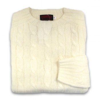 Women's Scottish Shetland Wool Crewneck Sweater Cable Knit
