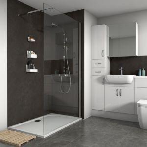 Splashwall Textured Silver Oxide Shower Panel W 1200mm T 11mmbrown In 2020 Shower Wall Kits Slate Shower Shower Panels
