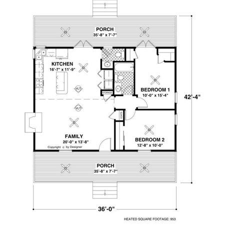 The House Designers Thd 6746 Builder Ready Blueprints To Build A Cottage House Plan With Slab Foundation 5 Printed Sets Walmart Com In 2021 Small House Floor Plans Tiny House Plans Cottage Style
