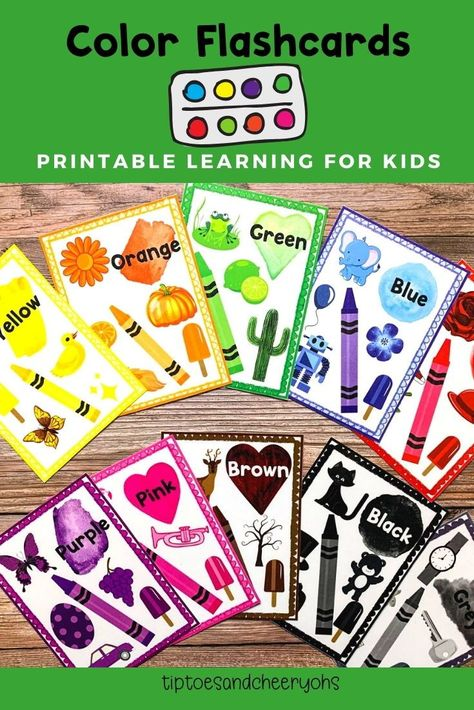 Jumbo Color Flashcards Colors Flashcards for Kids Preschool | Etsy