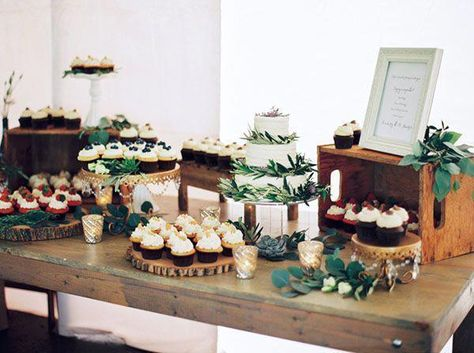 Elegant Rustic Cake and Dessert Display Emily Katharine Photography Pastel Natural Glam Wedding Rustic Wedding Desserts, Dessert Bar Wedding, Rustic Wedding Centerpieces, Wedding Cupcakes Display, Wedding Rustic, Wedding Cupcake Table, Rustic Wedding Cupcakes, Rustic Cupcake Display, Wedding Cake Table Decorations
