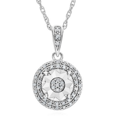 Limited Time Special 1 10 Ct T W Double Halo Diamond Pendant Necklace In Sterling Silver Diamond Pendant Diamond Double Halo Diamond