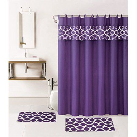 Geometric Purple 15 Piece Hotel Bathroom Sets 2 Non Slip Bath