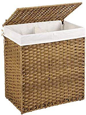Amazon Com Songmics Handwoven Laundry Basket With Lid 110l