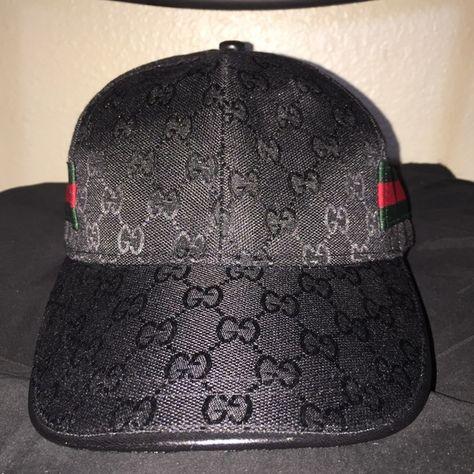 1160ee5768b7f Low Profile Strapback Gucci Hat Cap All Black W Signature Gucci Stripe.  Velcro Strapback. Pre-Owned