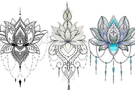 Flor De Lotus Mais De 70 Modelos De Desenhos Tatuagens Ideias Lotus Flower Tattoo Design Lotus Tattoo Design Mandala Tattoo Design