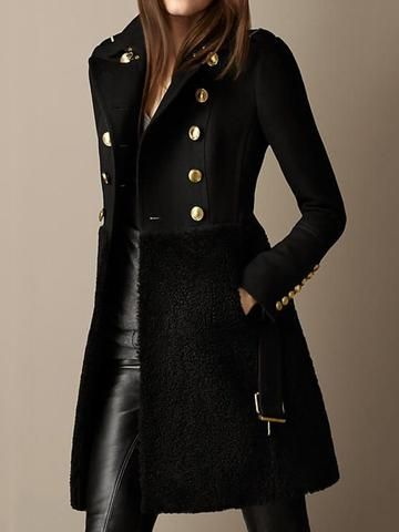 A Line Double-Breasted Patchwork Mid-Length Lapel Overcoat – Lurbeauty