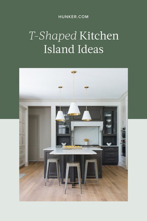 These T Shaped Kitchen Island Ideas Are Surprisingly Convenient Hunker In 2020 Traditional Kitchen Island Kitchen Island With Seating Kitchen Island Table