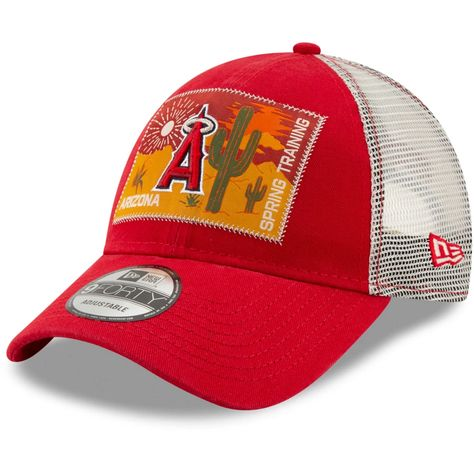 4adc2a0b1040f Men s Los Angeles Angels New Era Red Patched Trucker 3 9FORTY Adjustable Snapback  Hat