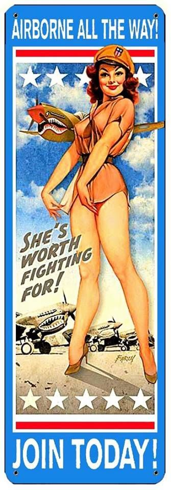 Nostalgic Paratroopers Airborne Pin Up Girl Sign