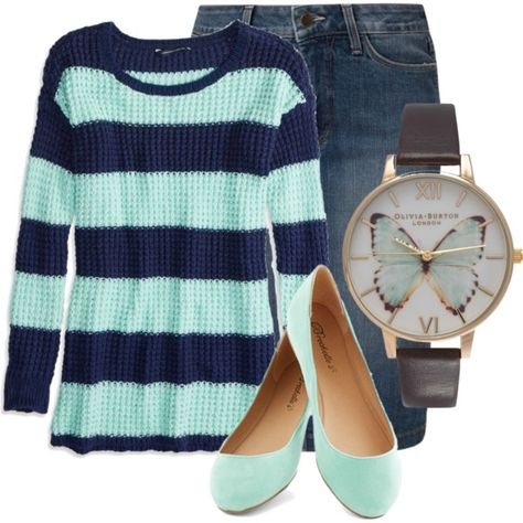 A fashion look from November 2014 featuring American Eagle Outfitters sweaters, NYDJ skirts and Olivia Burton watches. Browse and shop related looks.