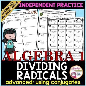 Dividing Radicals Students Will Simplify 20 Dividing Radical Expressions Problems Withou Radical Expressions Simplifying Radical Expressions Radical Equations Dividing radicals worksheet answer key