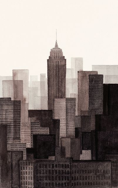 Laurie Rollitt:  New York City (via @SUGARMEOWS use different techniques, experiment with different layers to create this effect