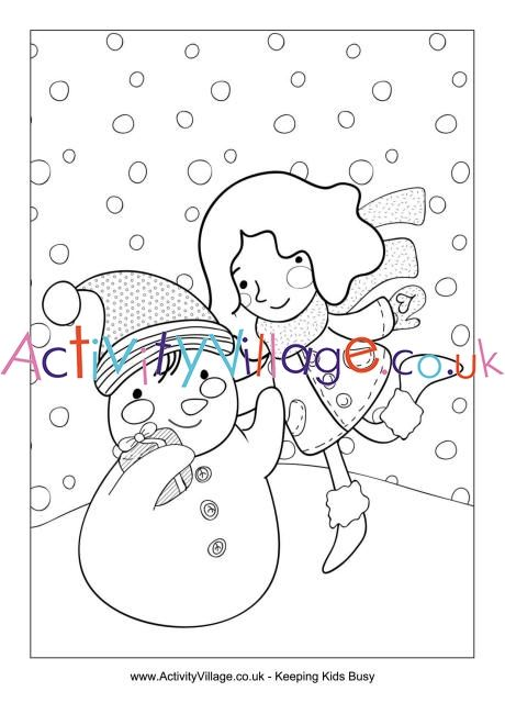 Building A Snowman Colouring Page Snowman Coloring Pages Build