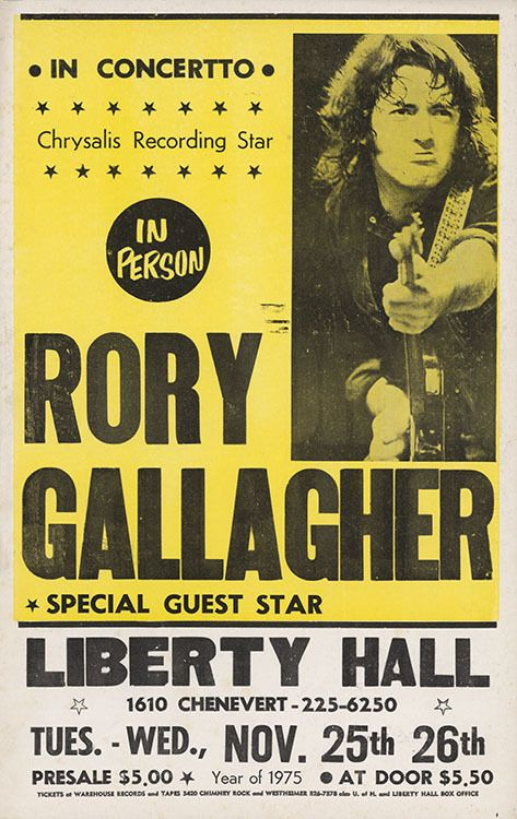 Liberty Hall Rory Gallagher 1973 Vintage Concert Poster