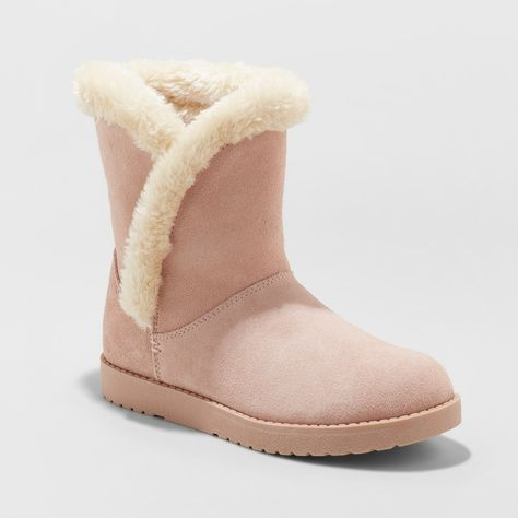 b5a181f234d1 Women s Daniah Wide Width Suede Winter Boots - Universal Thread Blush 9W