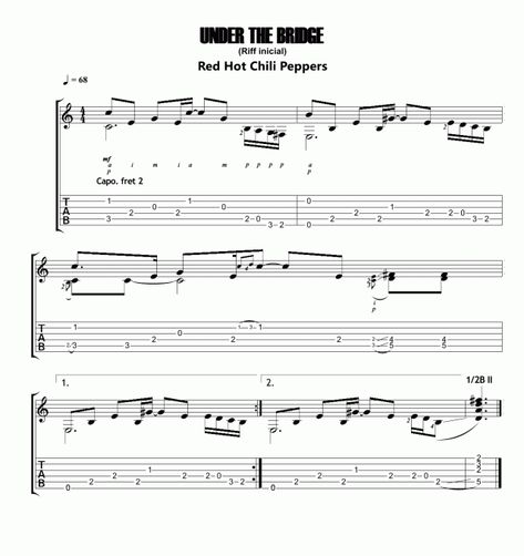 Under the bridge | Guitar Chords en 2018 | Pinterest