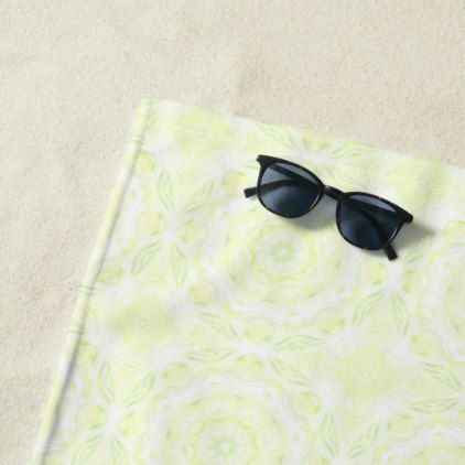 Kaleydoart Green Yellow White Kaleidoscope D1 Beach Towel