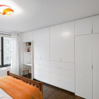 Plan And Organize Storage Wall Units For Bedrooms Modern Bedroom Idea With Brown Wooden Bed Frame White Also Orange Blanket Combine