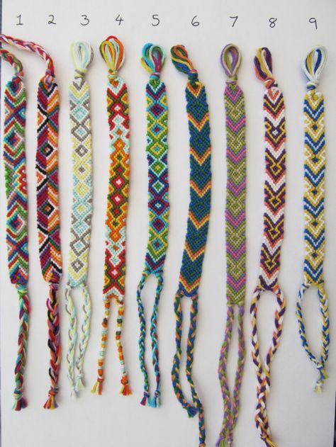 Woven Friendship Bracelet - Handmade colorful diamond, arrowhead and triangle bracelets