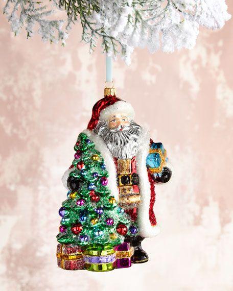Santa With Tree Christmas Ornament Christmas Ornaments Christmas Tree Ornaments Ornaments