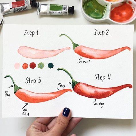 Cayennepfeffer Zeichnen Lernen Anleitung Für Anfänger In Vier