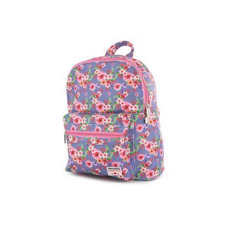 8409499cb9c Leuke blauwe rugzak met bloemenprint. Deze leuke zomerse tas wil je hebben  voor je kleine meid. Shop deze rugzak via Shoesme - BAG9A026-D