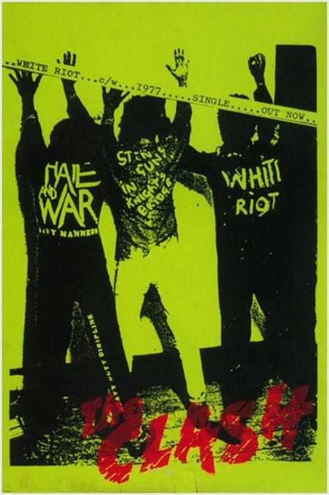 The Clash White Riot Debut Single Poster Punk Politics Arrest Pose 24x36