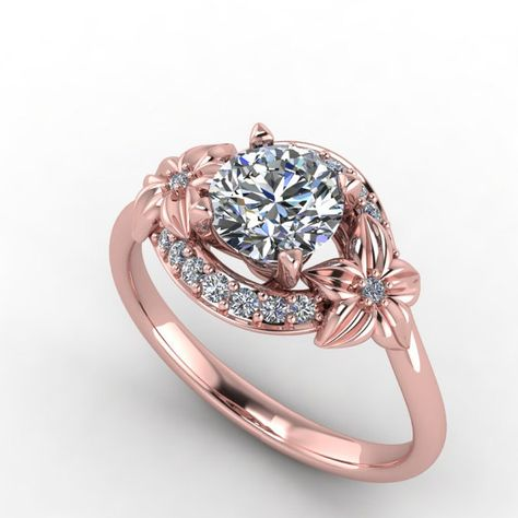 rose gold floral design  engagement ring,diamond and moissanite  ring,style 91RGDM