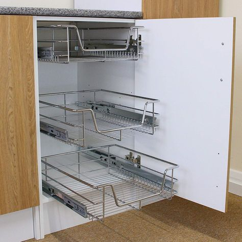 Kukoo 3 X Kitchen Pull Out Soft Close Baskets 500mm Wide Cabinet Slide Wire Storage Drawers Co Uk Home