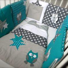Tour de lit 70x140 chouettes et étoiles (bleu canard et gris) | bébé ...