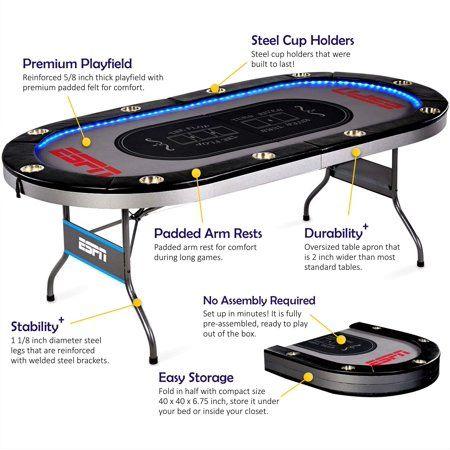 Premium Poker Table Foldable ESPN 10 Player Card Casino Game Room w// LED Lights
