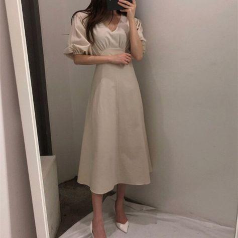 22.18US $ |2019 Korean Women Lantern Sleeve Long A Line Dress 2019 Summer Sexy V Neck Cotton Linen Dress Vintage Solid Party Dresses|Dresses|   - AliExpress