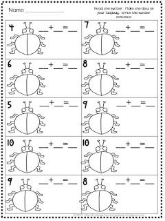 Ladybug addition!  Students must put the number of dots on the ladybug and write the equation!
