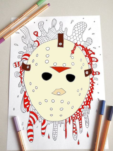 Friday The 13 Colouring Halloween Jason Voorhees Horror Adult Coloring Hockey Mask Download Gothic Printable Print