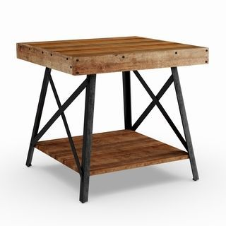 Reclaimed Look Wood End Table