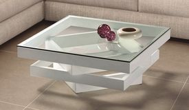 Table Basse Laquee Blanche Extensible Star Table Basse Moderne