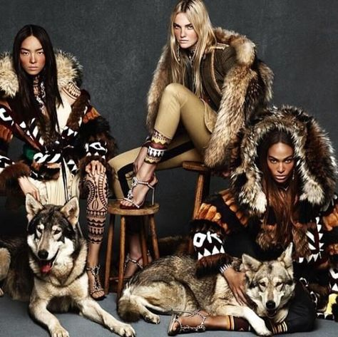 Wearing massive fur coats and tribal patterned apparel, the three top models are the faces of DSqaured2's Fall/Winter 2015 campaign shot by photography duo Mert and Marcus.