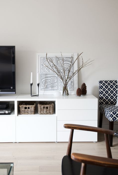 white drawers and cupboards - media - tv cabinet