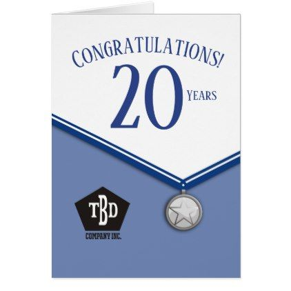 Faux Medal Employee 20 Year Anniversary Card Zazzle Com 20 Year Anniversary Cards 20 Year Anniversary Anniversary Cards