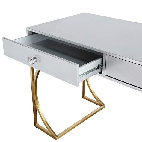 Lexie 51 Wide Matte Gray Lacquer And Gold 2 Drawer Desk 34p22 Lamps Plus Desk With Drawers Writing Desk Desk
