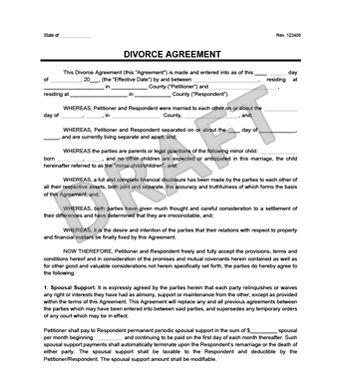 Divorce Petition TemplateSeparation Agreement  Separation