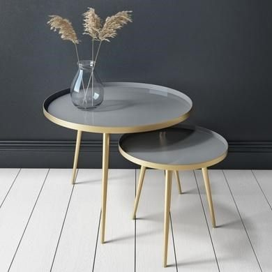 Round Nest Of Tables In Gold Grey Kaisa Furniture123 In 2020 Gold Nesting Tables Table Furniture Side Tables