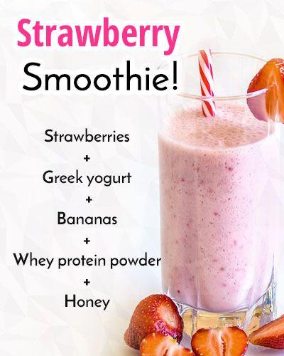 Strawberry Banana Smoothie Whey Protein Smoothies Homemade Protein Shakes Smoothie Recipes Strawberry